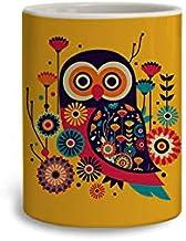 PrintBharat Traditional Owl Ceramic Mug, 350 Ml