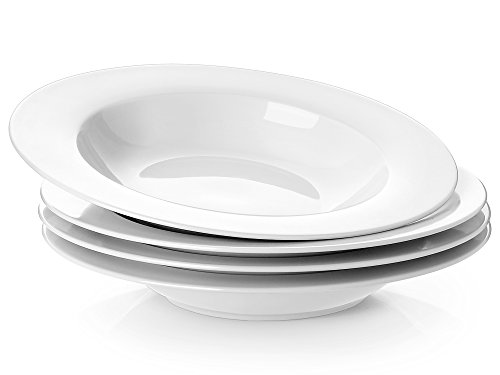 Y YHY 8.25 Inches Porcelain Soup Bowls, Rim Bowl Set, White, Set of 4
