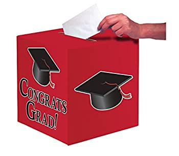 Creative Converting Congrats Grad Card Holder Box Classic Red -