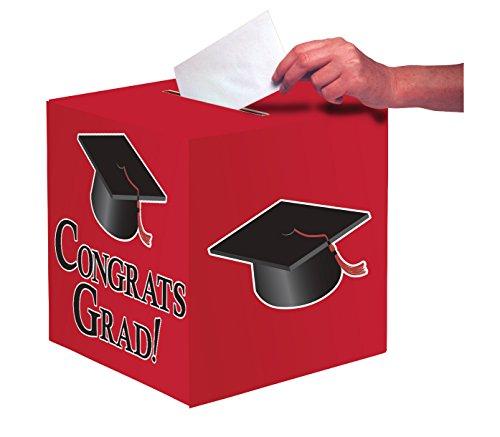 Creative Converting Congrats Grad Card Holder Box, Classic Red -