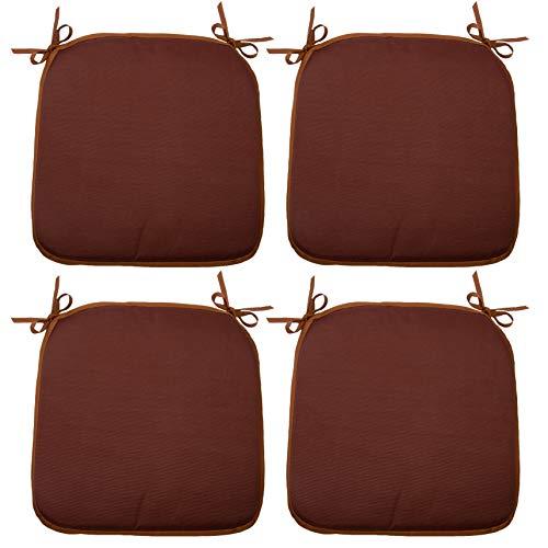 ZOLLNER 4er Set Stuhlkissen mit Bänder, 38x38 cm, braun (weitere verfügbar)