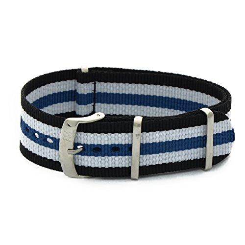 Geweven band Kaneté zwart wit blauw ansa 22 mm voor de omega Panerai Tagheuer Rolex Tudor. Morellato