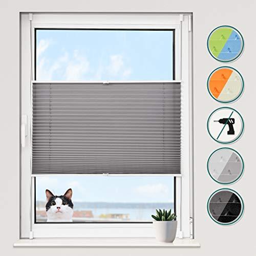 Grandekor Plissee Klemmfix Plisseerollo ohne Bohren (45x120cm Anthrazit), Fensterrollo Faltrollo Easyfix lichtdurchlässig Sicht- & Sonnenschutz für Fenster & Tür