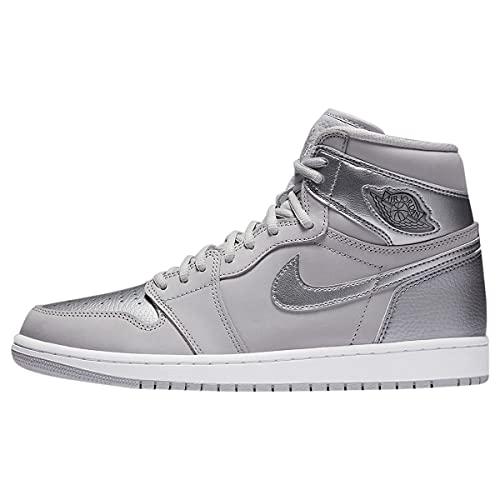 Nike Hombres Jordan 1 Retro High CO Japan Zapatillas, (Gris Neutro/Metallic Plateado/Blanco), 42 EU