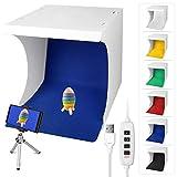 Linkstyle Fotostudio 32 x 31 cm (13 x 12 Zoll) Lichtzelt Faltbare Studiobox Fotografie Leuchtkasten Ausgestattet Lichtbox mit 6 Farben Backdrops für Fotografie, 1 Eingebaute 6500K 120 LED Streifen