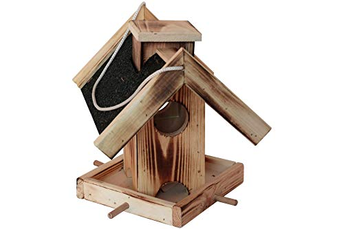 Unbekannt Bird Feeding House Natural Wood with Black Terrpap Roof Hanging