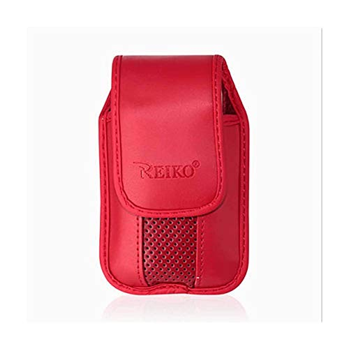 Red Leather Case with Pinch Clip for ZTE z432 Phone