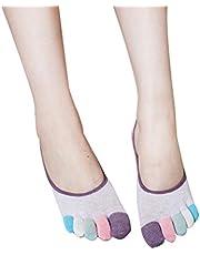 LUOEM Calcetines de cinco dedos Calcetines de silicona antideslizante de algodón invisible para mujeres niñas 1 par (púrpura)