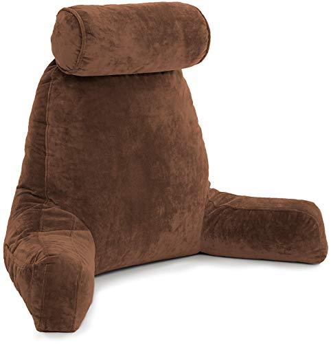 Husband Pillow - Chocolate Oreiller de Lecture avec Bras - Assis Haut avec de la Mousse mémoire déchiquetée de qualité supérieure, Rouleau détachable sur Le Cou