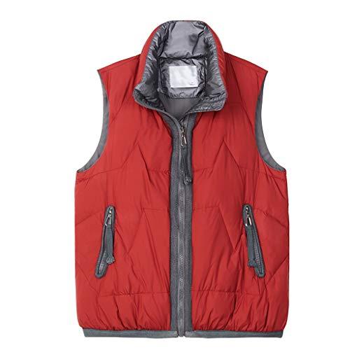 SFF Ligero Vest Chaleco Acolchado Chaleco Liviano Cremallera Chaqueta Regular Y Plus Tamaños Mujeres Chaleco Empacable Dar Mamá un Regalo Invierno (Color : Red, tamaño : XX-Large)