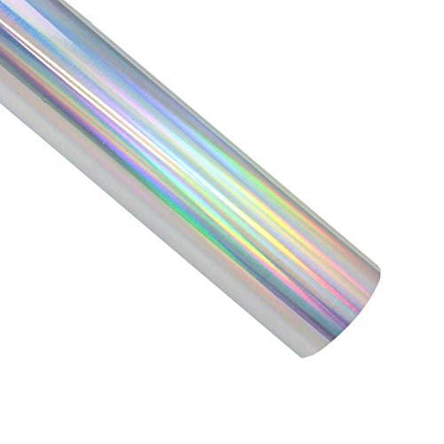 Holografische Wärmetransfer-Vinyl-Rolle, 30,5 x 152 cm, HTV Spektrum, Silber-Regenbogenfarben, zum Aufbügeln auf Vinyl für T-Shirts oder Stoffe, Kunst und Handwerk Holografisches Silber
