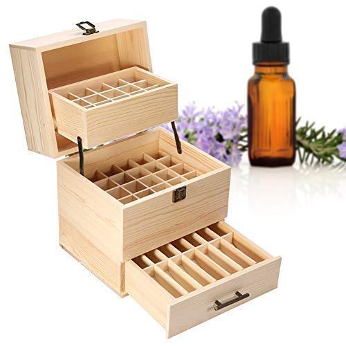 Holz Ätherisches Öl Box, 59 Gitter Holz Aromatherapie Box, 3 Schicht Ätherische Öle Flaschen Box Aufbewahrung Koffer Box, Ätherisches Öl Halter Organisator, 20 Rollenflaschen