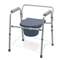 portable disabled toilet--Medline Guardian G30213-1F Deluxe Bedside Commode/Toilet Seat/Safety Rails - All in One