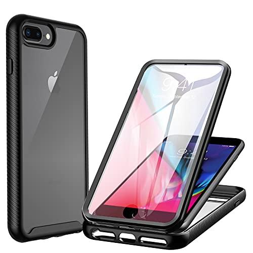 CENHUFO Cover iPhone 7 Plus /8 Plus Cover iPhone 6 Plus/6S Plus, 360 gradi Rugged Custodia iPhone 7 Plus /8 Plus/6S Plus/6 Plus, con Protezione dello Schermo Integrata Antiurto Armor Bumper Case, Nero