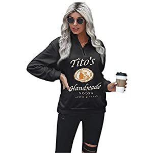 Women's Quarter Zip Sweatshirts Long Sleeve V Neck Pullover Letter Printed Lightweight Tunic Tops