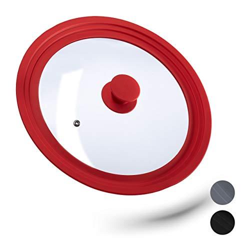 relaxdays 10027989_47 Coperchio Universale in Vetro, con Bordo in Silicone per Pentole & Padelle 26-30 cm, HxD: 5 x 31,5 cm, Rosso, Metallo