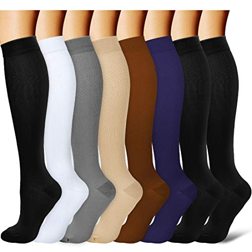 Laite Hebe brand women and men compression socks(8 Pairs),L/X-L,Assorted1
