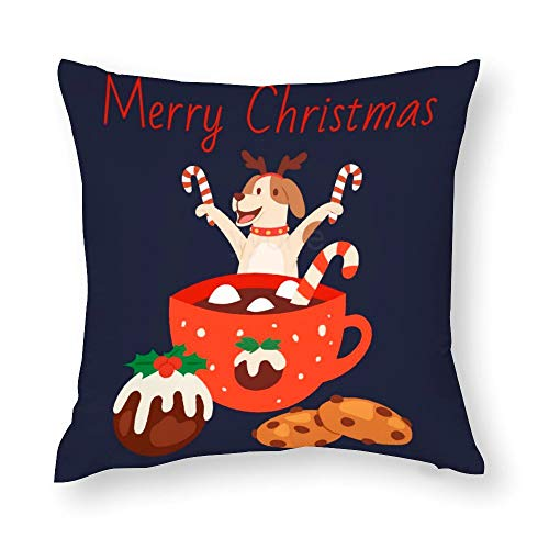 YY-one Decorative Throw Pillow Covers Cute Dog in Christmas Reindeer Antlers with Mug Decorative Throw Pillow Case Cushion Cover Cotton For Sofa Couch Chair Seat,Square 22 X 22 Inches