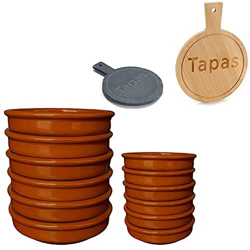 12er-Set Tonschalen Tapasschale Auflaufform Cazuela-Set Servierschale aus feuerfestem Ton, Ø12 und 16 cm, Rund, Ineinander Stapelbar