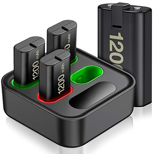 Rechargeable Battery Pack with Charger for Xbox Series X|S,Charger for Xbox One Controller Battery Pack with 4x1200mAh Batteries,Rechargeable Battery Pack for XSX|S/X1/One S/One X/One Elite Controller