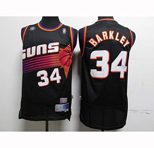 ATI-HSKJ Männer Basketball-Trikots Phoenix Suns # 34 Charles Barkley Neuer Sport Tops Basketball Westen Breathable Ärmel Jersey Schwarz BH467,M:170cm~175cm