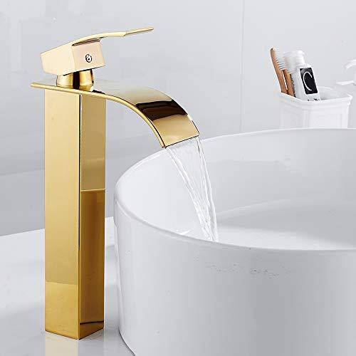 Grifo de baño para lavabo de cascada Mezclador para lavabo Grifo alto de apoyo moderno de latón (dorado)