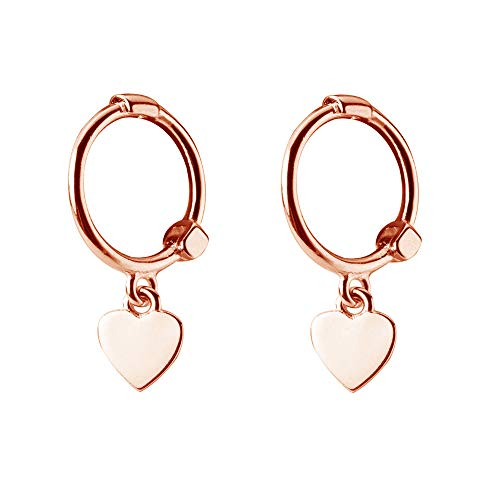 Mini Love Heart Dangle Small Hoop Earrings for Women Teen Girls S925 Sterling Silver Cartilage Small Tiny Cute Sleeper Dainty Huggie Hoops Jewelry Birthday Gifts for Mother Best Friend 14K Rose Gold