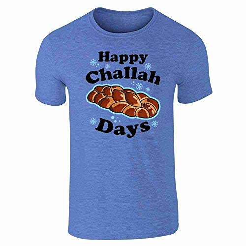 Pop Threads Happy Challah Days Funny Hanukkah Heather Royal Blue L Graphic Tee T-Shirt for Men
