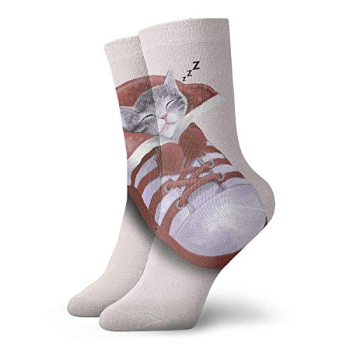 Nifdhkw Cat In The Shoe Unique Novelty Long Sock Crew Athletic Tube High Stockings Sport
