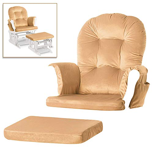 Glider Rocking Chair Replacement Cushions Washable Velvet Cushions for Chairs & Ottoman with Pocket (Cream White)