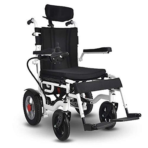 WSHFHDLC Schwerer Elektrorollstuhl mit Einer Kopfstütze, zusammenklappbar, leichten elektrischen Rollstühlen, kann die Armlehne angehoben Werden, die Wippe 360, Belastung 140 kg, die Sitzbreite 40CM