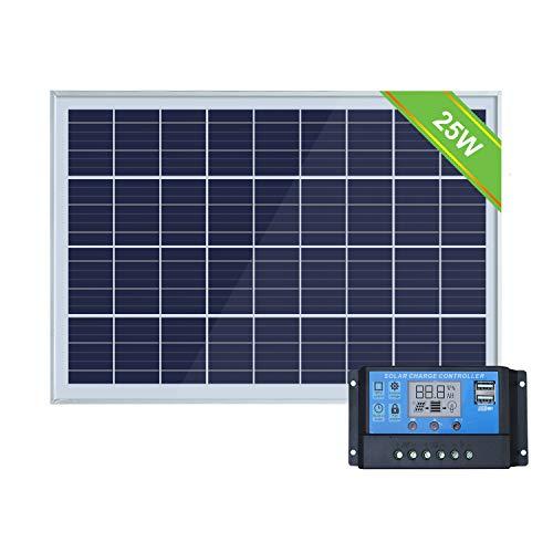 ECO-WORTHY Kit de Sistema de Panel Solar portátil de 25 W: módulo Solar de 25 W y Controlador de 20 A PWM para caravanas, caravanas, Barcos, Camperos, Cualquier Otra Carga de batería de 12 V