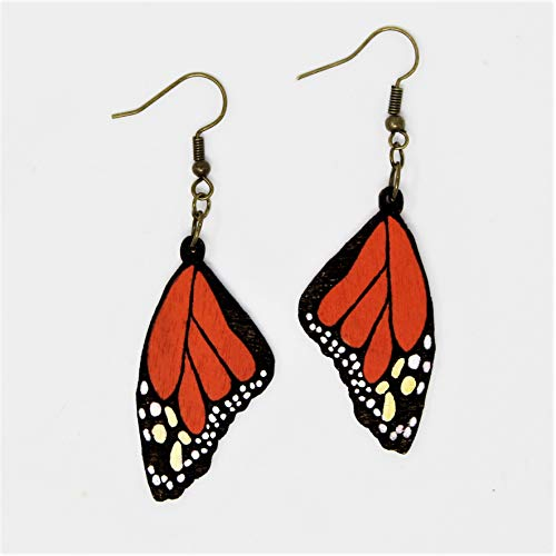 Monarch Butterfly Wing Dangle Earrings | Wooden Hand-Painted Eco-Friendly Fashion