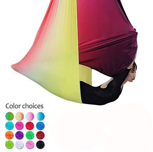 5M Yoga DIY Silk Antigravity Yoga Amacadi Yoga Amaca Per Pilates Altalena Attrezzatura Per Danza Aerea Aerial Silks YOGA SWING Incluso Solo Il Tessuto Non Gli Altri Accessori (Nero)