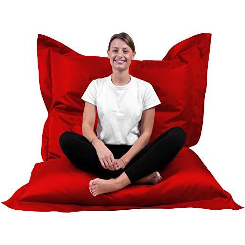 B58 Sitzsack Rechteckig Riesensitzsack Beanbag Sitzkissen Indoor Outdoor Sitzsäcke Kinder Bodenkissen Erwachsene Freizeit Schule Kindergarten Lounge (XL-XXXXL; 12 Farben) (XL= 145 x 100, Rot)