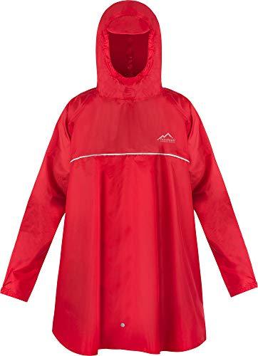 normani Kinder Regenponcho Regenjacke mit Ärmeln und Kapuze - 12.000 mm Wassersäule und 3M™ Scotchlite™ Reflektor - Regencape für Junge und Mädchen Farbe Rot