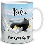 TRIOSK Pinguin Tasse Relax Kein Stress mit Spruch lustig Geschenk für Arbeit Büro Frauen Freundin...
