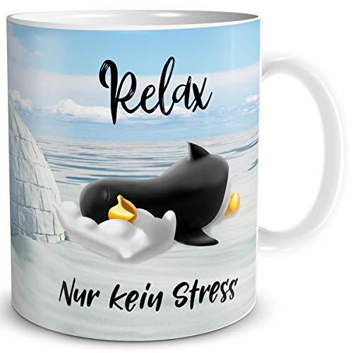 TRIOSK Pinguin Tasse Relax Kein Stress mit Spruch lustig Geschenk für Arbeit Büro Frauen Freundin Kollegin Pinguinliebhaber