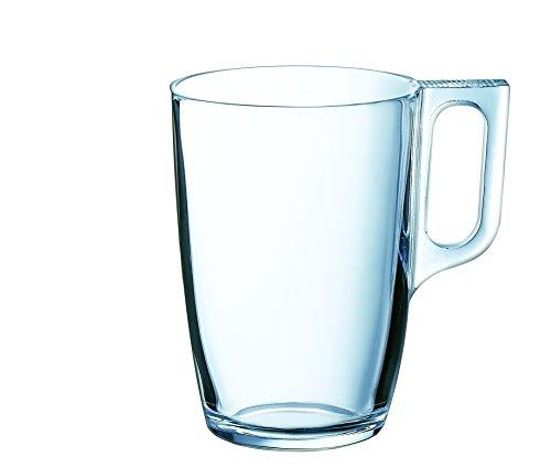 Arcoroc ARC L3694 Voluto Bockbecher, Kaffeebecher, Kaffeetasse, 320ml, Glas, transparent, 6 Stück