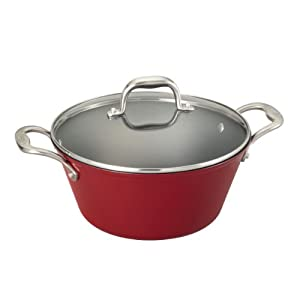 This 5-1/2-quart Dutch oven is constructed of durable cast iron coated in enamel, which provides the best attributes of traditional cast iron, but at 50% less weight. Oven safe up to 400 degrees F and compatible with all heat sources including gas, e...