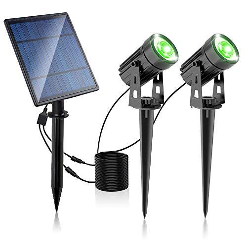 Foco solar LED, Lámparas verdes de jardín de seguridad para exteriores, IP65 a prueba de agua, Encendido/apagado automático, Luz de suelo para cerca de césped de jardín de jardín, Paquete de 2
