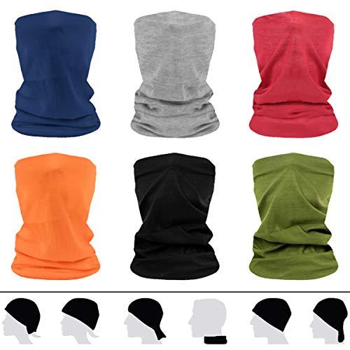 flintronic Bandanas Multifunktionstuch Schal, 6 Stück Schlauchschal Herren/Damen, Halstuch Kopfbedeckung UV-Schutz Staubschutz Loop-Schal Motorradschal, Elastiche Stirnband für Yoga, Laufen, Outdoor