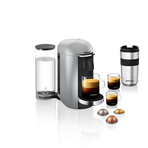 Krups XN900E Nespresso Vertuo Plus Deluxe Kaffeekapselmaschine (1260 Watt, 1,7 l Wassertank), silber