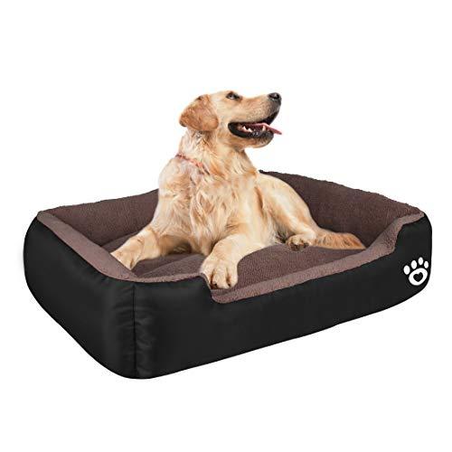 HEGCOIIE Cuccia per Cani di Taglia Media Grande, Lavabile, in Morbido Pile corallo, Letto per Cani e Gatti, con Panno Oxford Impermeabile