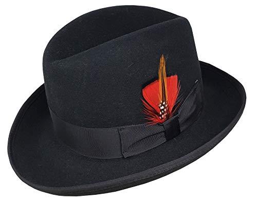 Different Touch Men's 100% Wool Felt Homburg Style Godfather Hats (XL, Black)