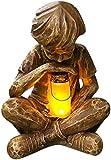 LASULEN Glimpses of God - Estatua de niño, decoración de jardín de Pascua, Estatua de prodigio, luz Solar para césped, lámpara Creativa para césped, estatuas de jardín al Aire Libre