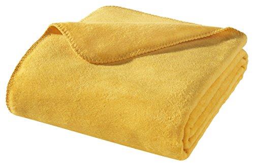 WOHNWOHL Kuscheldecke 150x200cm • weiche Tagesdecke • Sofadecke • Wohndecke • Schlafdecke • Ökotex Zertifizierte Baumwolldecke • Farbe: Gelb