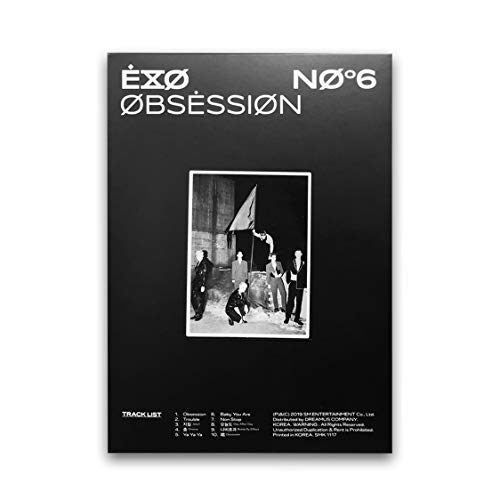 EXO 6th Album - OBSESSION [ OBSESSION ver. ] CD + Photobook + Lyrics Book + Folded Poster(On Pack) + Post Card + Photocard + FREE GIFT / K-pop Sealed