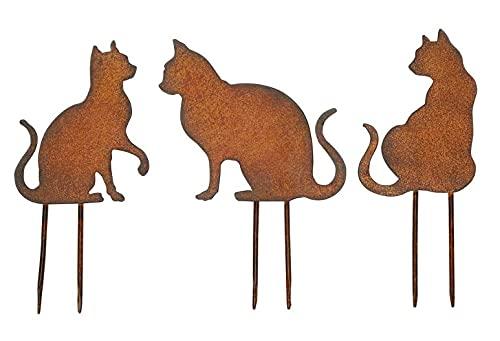 3er Set Stecker ROST Farben Katzen Metallstecker Rostdeko Gartendeko 18cm groß Metall Katze Garten Dekoration Gesteckdeko