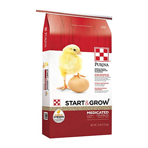 Purina Start & Grow | Nutritionally Complete Medicated Poultry Feed Crumbles | For Chicks - 25 Pound (25 lb) Bag